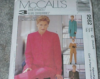 McCall's Sewing Pattern 9562--3 Hour Separates--Jacket-Pants-Skirt & Top--Sizes 20, 22, 24--Unused--Uncut