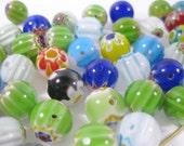 50 Flower Millefiori Round Beads 10mm (C)