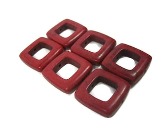 20mm Square Red Howlite Beads set of 6