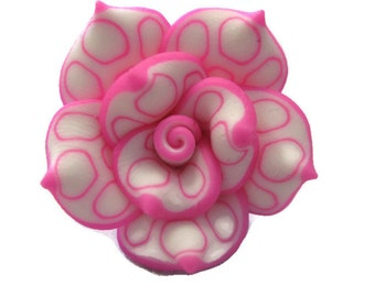 25mm Polymer Clay Rose Beads Set of Three (R01)