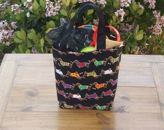 Dog Accessory Tote in a Dachshund on Black Print