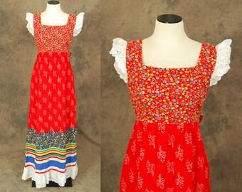 vintage 70s Maxi Dress - 1970s Calico Patchwork Sun Dress - Boho Folk Babydoll Dress Sz S M
