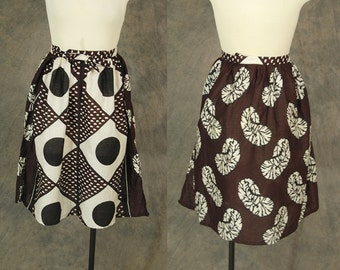 CLEARANCE vintage 70 Tribal Wrap Skirt - 1970s African Skirt - Ethnic Brown Batik Midi Skirt Sz S M L