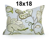Botanical Pillow Cover, Grey Green Throw Pillow, Aqua Cushion Cover, Designer Floral Pillows, Pale Green Cream Modern Linen Pillows 18x18
