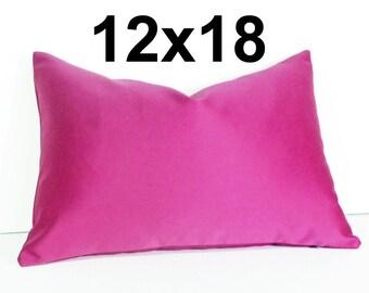 Vibrant Pink Pillow, Solid Pink Pillow, Pink Throw Pillows, Hot Pink Pillow, Pink Cushions, 12x18 Lumbar, PillowThrowDecor, Sale