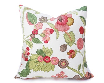 Eclectic Pillow Covers, Country Chic Pillows, Pink Coral Floral Pillows, Cottage Cushion, Unique Pillow, 18x18