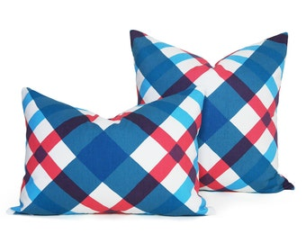 Blue Retro Pillows, Red White Blue Pillow Cover, Argyle Pillow, Vintage Plaid Cushion, Unique Decorative Pillows, 14x20 20x20, SALE