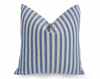 Blue White Striped Pillow Cover, Beach House Pillow, Cottage Pillow, PillowThrowDecor, Blue Striped Cushion, Lumbar, 14x20, 18x18, 20x20