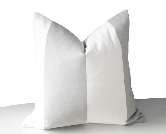 Modern Striped Pillows : Grey White Pillow Wide Stripes Pillow Modern Throw Pillows