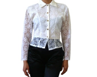 French Vintage 70s Lace Blouse / Shirt