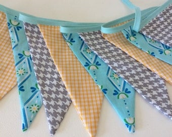 Grey, turquoise and yellow bunting - Fabric Garland, Wedding Bunting,  New bunting design