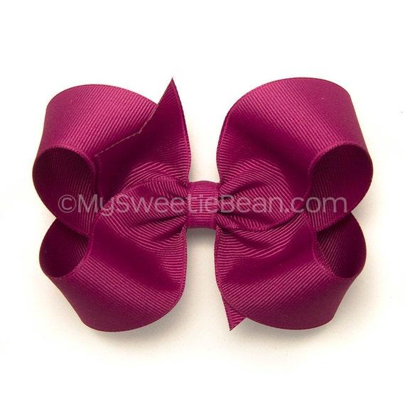 "Festive Fuchsia Hair Bow, 4 inch Basic Bow, Magenta Purple Boutique Bow, Classic Bow Baby Toddler Girls, MTMG Sparkle Kitty, 4"" Magenta Bow"