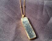 Grey Black Quartz Druzy Necklace on a Gold Chain