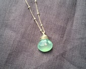 Chalcedony Necklace with White Topaz on Sterling Silver Chain
