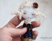 Brooch, Art Doll, mixed media collage, gift for her
