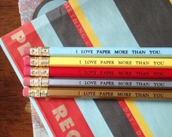 PAPER STORE PENCILS Designer Colors - Personalized, Custom Printed (set of 5)
