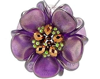 Purple Flower DIY Pendant Kit, Amethyst Bloom