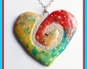 Heart Swirl Mosaic Tile Necklace Twisted Spiral Confetti Pendant
