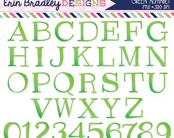 Green Alphabet Clipart Instant Download Commercial Use Clip Art Alpha for Digital Scrapbooking
