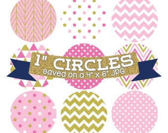 "ON SALE Digital Collage Sheet 1"" Digital Bottlecap Images Pink and Gold Patterns Personal & Commercial Use One Inch Circles"