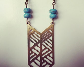 Turquoise Tribal Chevron Necklace