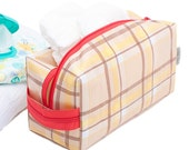 Oilcloth Make Up Bag Cosmetic Case Plaid Large