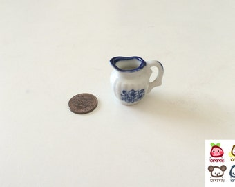 Miniature Ceramic Jug, miniature jug, jar, miniature, white, blue, figurine, terrarium, clay, mini, little, decoration, small, kitchenware