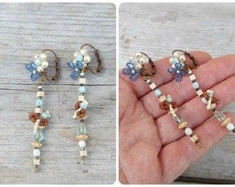 Printemps flowers & bees /Handmade in France  pendant earrings on leverbacks