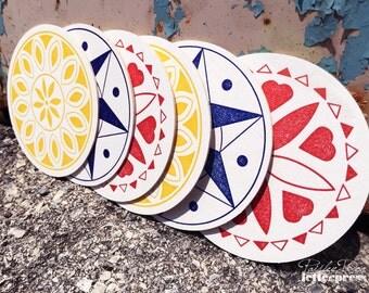 Assorted Letterpress Coaster Set - Pennsylvania Dutch - PA Heritage Collection