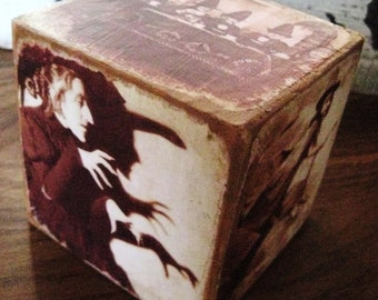 Primitive Halloween Witch Block 6-sided Wooden Block