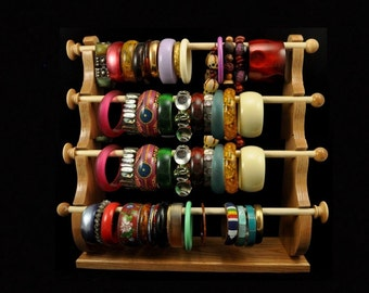 4 Wand Standing Bracelet Holder  Bracelet Storage Bracelet Display Bracelet Organizer Oak Wood