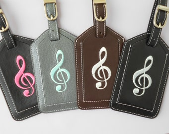 Musically Yours Leather Luggage Tag