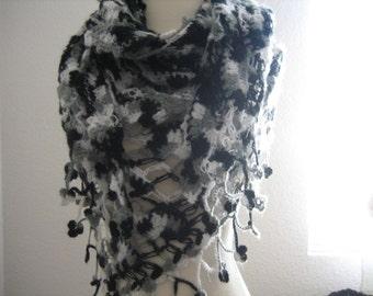Crochet shawl, black, white, grey variegated, soft, superb quality work, lacy, beautiful, ready