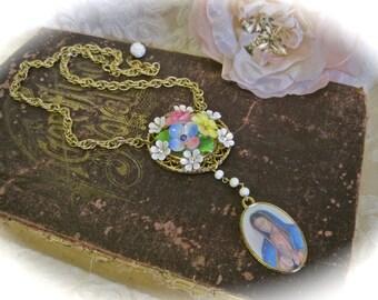 Morning Glory: Flower Rosary Necklace Holographic Mary Jesus HOLOGRAM Medallion Porcelain Floral Roses Made in England Vintage Assemblage