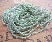 Antique Seed Bead Short Hank Seafoam Green Luster Size 11