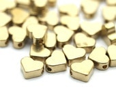 50 Raw Brass Heart Beads  (7x6 Mm) Bs-1338