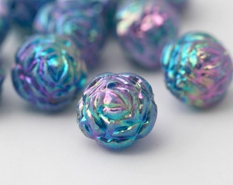 Acrylic Rose Beads Blue Purple Round Rose Beads AB 14mm (10)