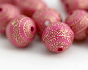 Round Hot Pink Gold Beads Etched Round Acrylic Beads Carved 11mm (20)