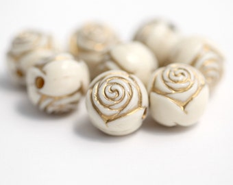Etched Round Cream Ivory Gold Acrylic Rose Beads 16mm (8)