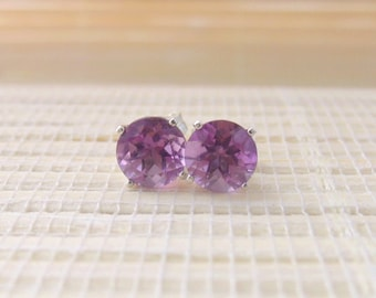 Brazilian Amethyst Stud Earrings Sterling Silver February Birthstone 6mm