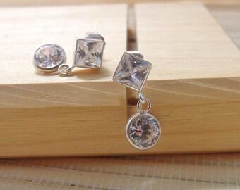 Cubic Zirconia Earrings Sterling Silver April Alternate Birthstone 6mm On Sale