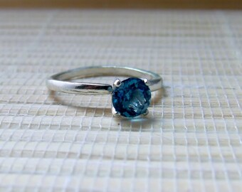 London Blue Topaz Ring Sterling Silver Solitaire December Birthstone Made To Order