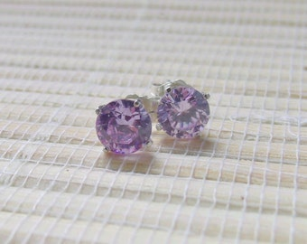 Lavender Cubic Zirconia Stud Earrings Sterling Silver 6mm