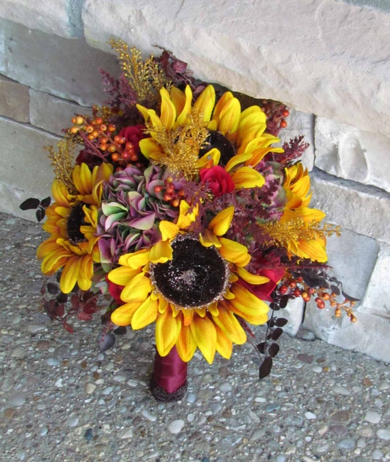 Sale priced golden yellow sunflower bridal bouquet for your for Fall wedding bouquets for sale