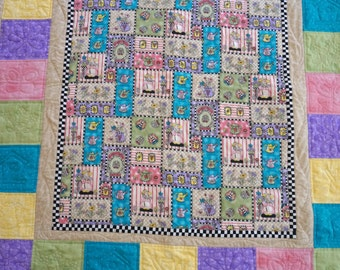 OOAK Lap Quilt & Pilllow Flowers, Watering Cans, Butterflys and Bugs for Mom, Aunt, Grandma