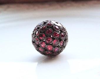 Pave Garnet Round Focal Bead - Rhodium Sterling Silver - 18mm