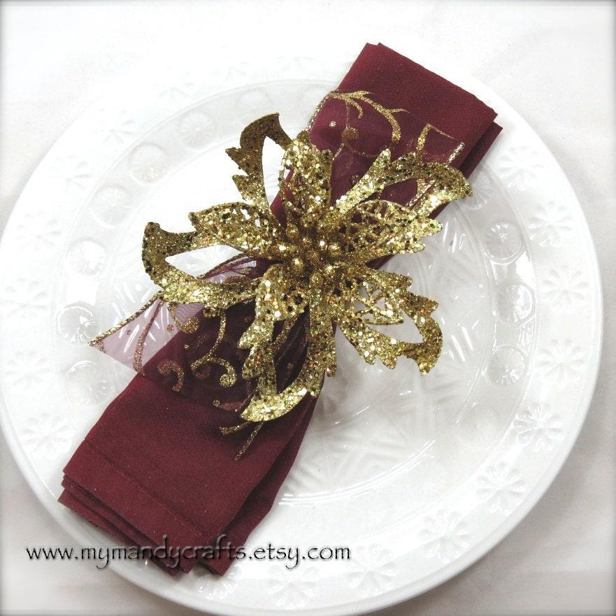 Gold Christmas Poinsettia Napkin Ring Holiday Table Decoration