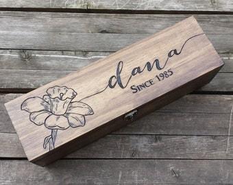 Personalized wine box, Wedding wine box, birthday wine box, Bridesmaid gift, wine box ceremony, love letter box, birthday gift, shower gift