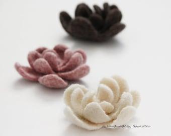 Wool flower, felted wool flower, wool brooch, hand felted flower, hand knitted flower, wool felted flower ---50% off sale