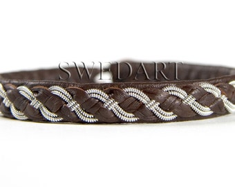 SwedArt B07 Viking Lapland Sami Leather Bracelet Pewter and Silver Braid Antler Button Dark Brown LARGE